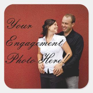 Quadrado das etiquetas da foto do noivado do adesivo quadrado