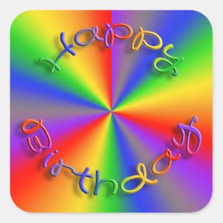 Quadrado das etiquetas do arco-íris do feliz