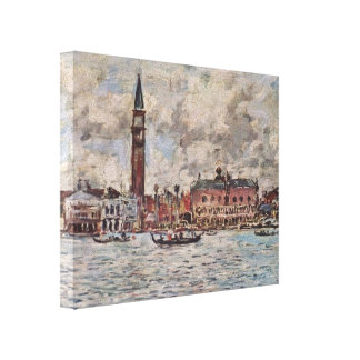 Quadrado de Eugene Boudin- San-Marco em Veneza Impressão De Canvas Envolvidas