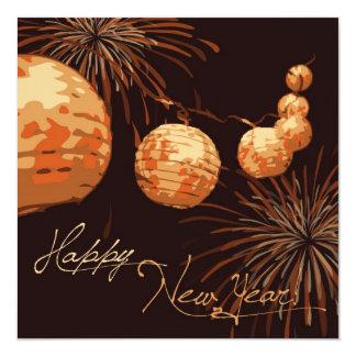 Quadrado do convite das lanternas do ano novo