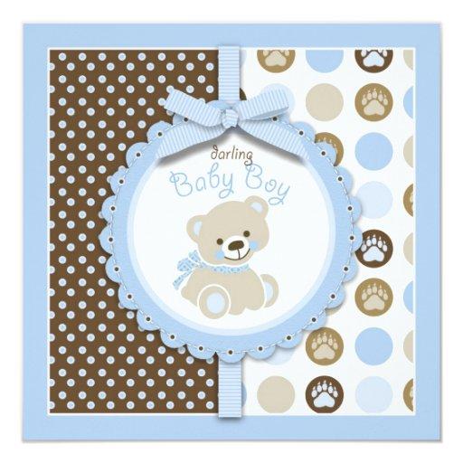 Quadrado do vazio do urso de ursinho do menino convite quadrado 13.35 x 13.35cm