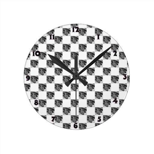 Quadrado dos símbolos de música do piano relógios para pendurar