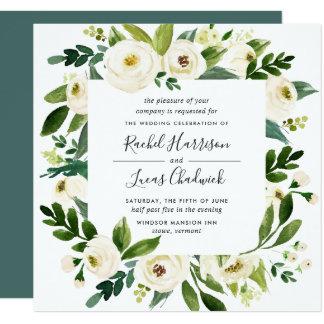 Cartão Quadrado floral do convite | do casamento do