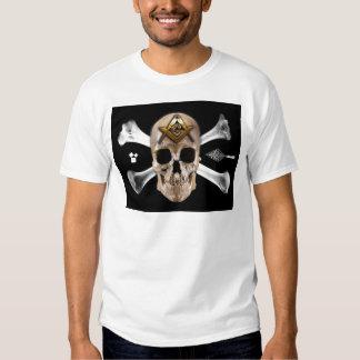 Quadrado maçónico do crânio & do compasso dos tshirts
