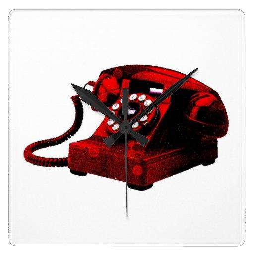 Quadrado velho Wallclock da caixa de telefone da m Relógios De Paredes