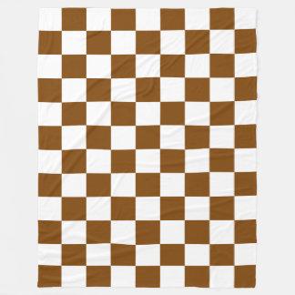 Quadrados castanho chocolate e brancos do cobertor de lã