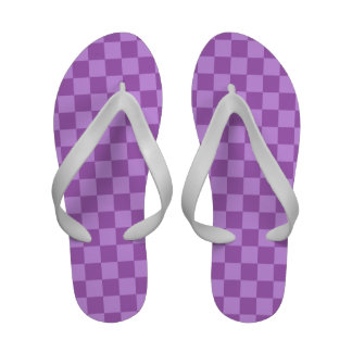 Quadrados Checkered do vintage roxo malva e violet Sandalias Rasteiras