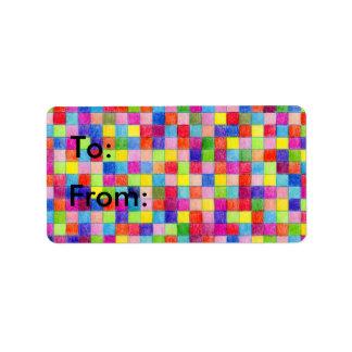 Quadrados coloridos do papel de gráfico a e dos etiqueta de endereço