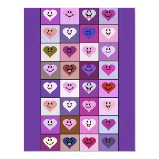 Quadrados cor-de-rosa & roxos do coração do smiley convite 10.79 x 13.97cm