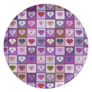 Quadrados cor-de-rosa & roxos do coração do smiley prato de festa
