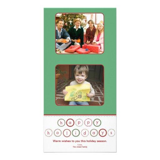 Quadrados da bandeira do círculo do feriado - verd cartão com foto personalizado