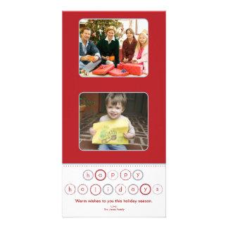 Quadrados da bandeira do círculo do feriado - verm cartão com fotos