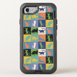 Quadrados da edredão da silhueta do gato em cores capa para iPhone 7 OtterBox defender