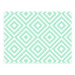 Quadrados geométricos abstratos teste padrão, verd cartao postal