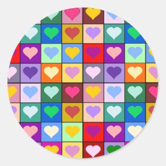 Quadrados multicoloridos do coração adesivo