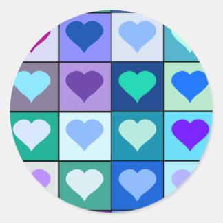 Quadrados roxos e azuis do coração adesivo