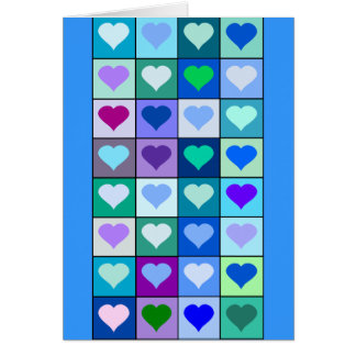 Quadrados roxos e azuis do coração cartão comemorativo