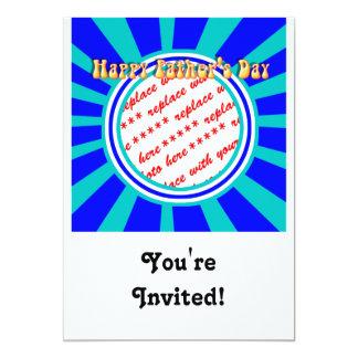 Quadro azul da foto do dia dos pais retro Groovy Convite 12.7 X 17.78cm