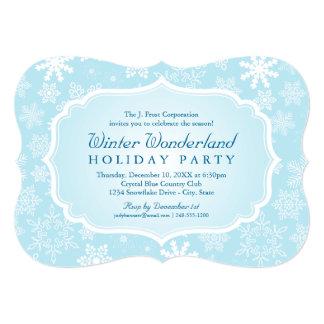 Quadro azul do floco de neve da festa natalícia | convite 12.7 x 17.78cm