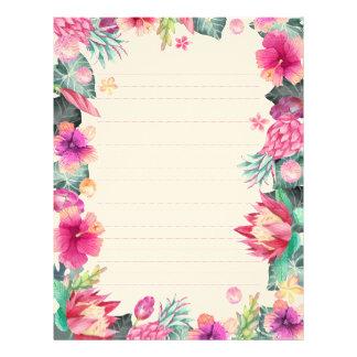 Quadro botânico verde cor-de-rosa tropical papel timbrado
