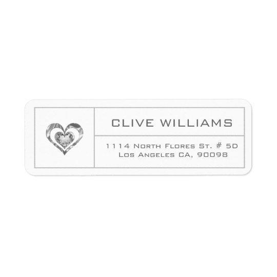 Quadro branco da prata da ilustração do coração etiqueta endereço de retorno