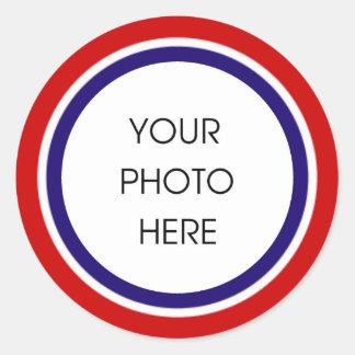 Quadro branco e azul vermelho da foto adesivo redondo
