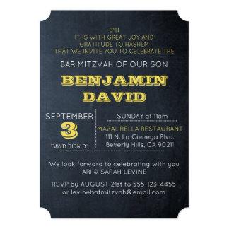 "Quadro convite de Mitzvah do bar H do ouro B de """