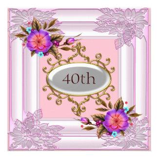 Quadro cor-de-rosa da flor da festa de aniversário