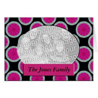 Quadro cor-de-rosa e preto da foto do círculo cartão comemorativo