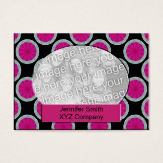 Quadro cor-de-rosa e preto da foto do círculo cartão de visitas
