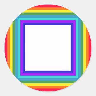 Quadro da foto do arco-íris - quadrado adesivo redondo