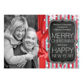 Quadro da foto do casal do feriado e Xmas da fita Convite Personalizado