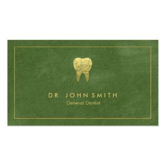 Quadro das canvas verdes & dente dourados - cartão de visita