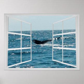 Quadro de janela com cauda da baleia poster