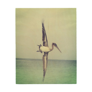 """Quadro De Madeira 8"""" X 10"""" pelicano de madeira do Fling da arte da"""
