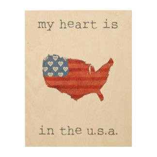 Quadro De Madeira A americana   meu coração está no mapa dos EUA