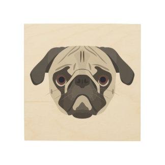 Quadro De Madeira A ilustração persegue o Pug da cara