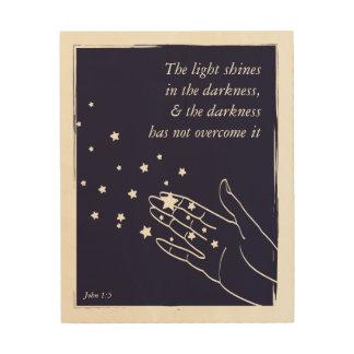 Quadro De Madeira A luz brilha na escuridão (o 1:5 de John)