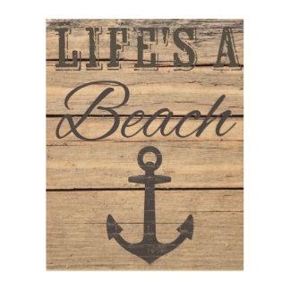Quadro De Madeira A vida é uma decoração da madeira da praia