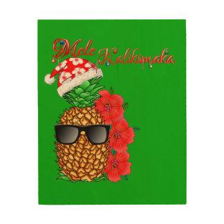 Quadro De Madeira Abacaxi do Natal de Mele Kalikimaka