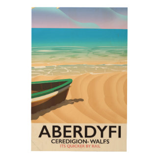 Quadro De Madeira Aberdyfi, poster das viagens vintage de Ceredigion