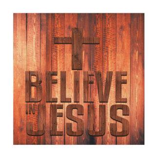 Quadro De Madeira Acredite no design de madeira do falso de Jesus no