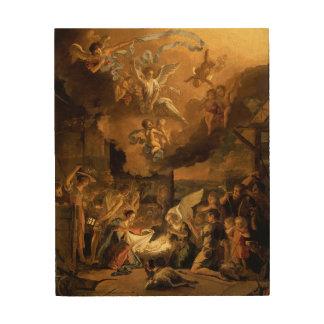 Quadro De Madeira Adoração do Natal das belas artes dos pastores