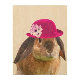 Quadro De Madeira Aguarela bonito do animal de fazenda do coelho