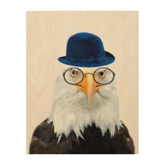 Quadro De Madeira Aguarela bonito do animal selvagem da águia
