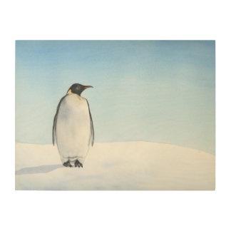 Quadro De Madeira Aguarela do pinguim