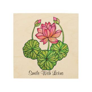 Quadro De Madeira Aguarela Lotus cor-de-rosa com botões & folhas