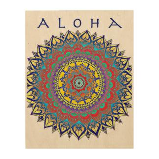 Quadro De Madeira Aloha ARTE da madeira da mandala
