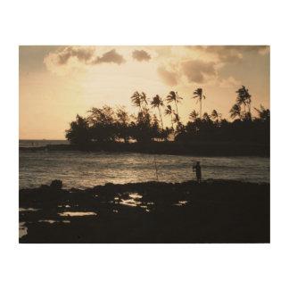 Quadro De Madeira Aloha arte da parede do por do sol de Kauai