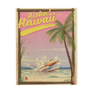 Quadro De Madeira Aloha! Poster de viagens do estilo do vintage de